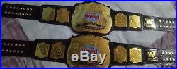 2x New WWF WORLD TAG TEAM Championship TITLE Belt 4mm Brass Plated Adult Size