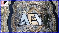 AEW World Championship Leather Belt Zinc Plate All Elite Wrestling Championship