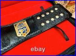 AWA World Heavyweight Championship Leather 2MM Brass Belt Plates Adult Size