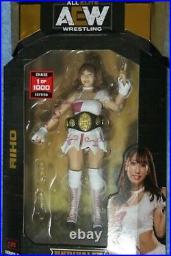 Aew unrivaled rare riho chase 1/1000 action figure variant withchampionship belt