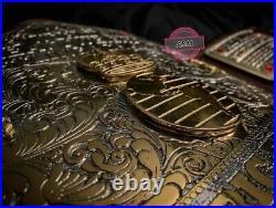 Big Gold Championship Belt Dual Gold Plates 4MM Zinc Genuine Leather Title