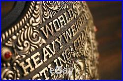 Fandu Antique Big Gold World Heavyweight Championship Belt Blk Strap WCW WWE NWA