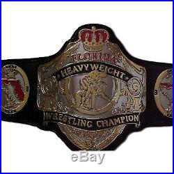 Florida Heavyweight Wrestling Title Replica Championship Belt Brass Metal 4mm