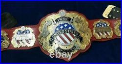 IWGP United States HeavyWeight Championship Leather Belt 2 Layers Zinc/Brass