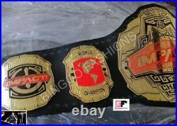 New Red Tna Impact World Championship Chrome Leather Belt 2mm Plates