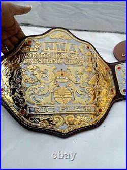 Nwa Big Gold Heavyweight Championship Belt Replica, 4mm Zinc Plates, Dual Plating