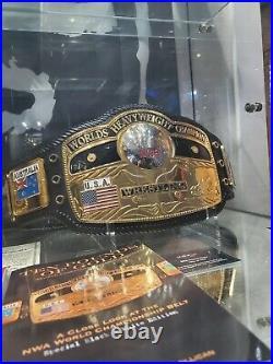 Real NWA Reggie Parks Domed Globe World Heavyweight Championship Leather Belt