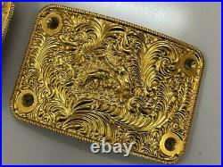 Wrestling Championship Title Belt Plates CNC Crafted 24K Real Gold Plated WWE