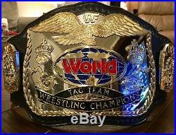 Wwf Logo Releathered Tag Team Fandu Championship Wrestling Belt Ultra Rare
